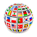 Globe sphere with flags of the world Royalty Free Stock Photos