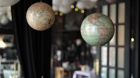 Globe sphere map. In interior stock video footage