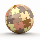 Globe or sphere from puzzles on white background Stock Photos