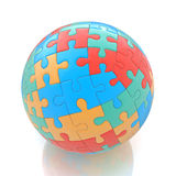 Globe or sphere from puzzles on white background Stock Image