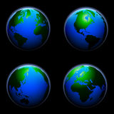 Globe_spheres. Detailed illustration of a earth globe with different angles Vector Illustration