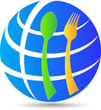 Globe spoon fork Royalty Free Stock Image