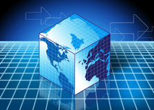 Globe in a square shape. In blue high tech background Stock Image