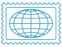 Globe on stamp Royalty Free Stock Image