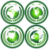 Globe stamps with wreath Royalty Free Stock Photo