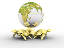 Globe standing on turtles. 3d model Stock Image