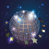 Globe with stars in blue background, vector. Geometrical shaped globe with stars in blue background, vector,Vector space background Royalty Free Stock Photography