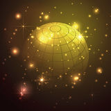 Globe with stars in gold background, abstract vector. Geometrical shaped globe with stars in gold background, abstract vector Stock Photos
