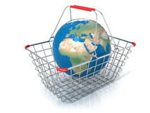 Globe in steel wire shopping basket Royalty Free Stock Photos