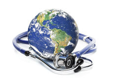 Globe with stethoscope Royalty Free Stock Image