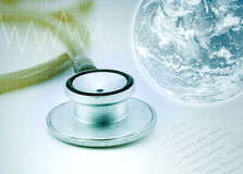 Globe with stethoscope background, healthcare concept Stock Photos