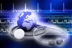 Globe with stethoscope Royalty Free Stock Photos