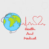 Globe and stethoscope for Health and Medical. Stock Photo
