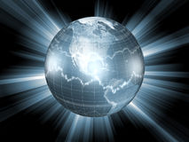 Globe with Stock Market Symbols Royalty Free Stock Images