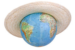 Globe in straw hat Royalty Free Stock Photos