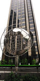 Globe structure at Columbus Circle with cityscape Stock Photo