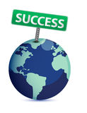 Globe with a success sign Royalty Free Stock Photography