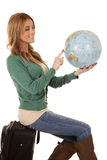 Globe suitcase sit Stock Photography