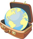 Globe in suite case Stock Image