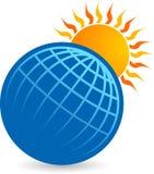 Globe with sun logo stock illustration