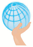 Globe supported with the hand Royalty Free Stock Images