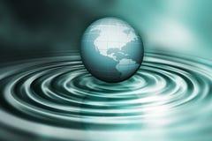 Globe sur des ondulations de l'eau illustration stock