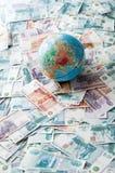 Globe sur l'argent russe Images libres de droits