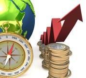 Globe sur la pile des pièces de monnaie image stock