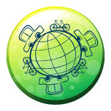 A globe surrounded by bicycles and cars Royalty Free Stock Photo