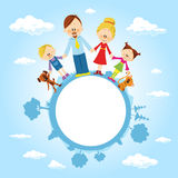 Globe surrounded by clouds, sky and family - vector Stock Images