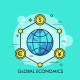 Globe surrounded by coins of different world currencies - dollar, euro, yen. Concept of global economics, international economical development, financial Stock Photo