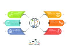Globe surrounded by 6 colorful elements with place for text and thin line pictograms. Global financial data and economic. Development concept. Minimal Royalty Free Stock Photo