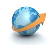 Globe surrounding arrow concept  3d illustration Royalty Free Stock Photos