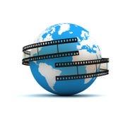 Globe surrounding film concept  3d illustration Stock Photography