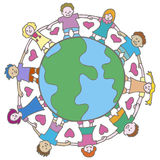Globe with Surrounding Kids. Globe with surrounding children holding hands Stock Photography