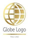 Globe symbol. In bright gold vector illustration