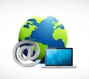 globe at symbol and a computer. Royalty Free Stock Image