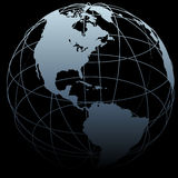 Globe symbol Earth 3D map on black Stock Photography