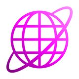 Globe symbol icon with orbit - purple gradient, isolated - vector. Illustration royalty free illustration