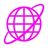 Globe symbol icon with orbit - purple simple, isolated - vector. Illustration royalty free illustration
