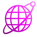 Globe symbol icon with orbit and satellite - purple gradient, isolated - vector. Illustration stock illustration