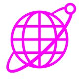 Globe symbol icon with orbit and satellite - purple simple, isolated - vector. Illustration vector illustration