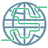 Globe Symbol Maze Puzzle of Global Solutions Stock Image