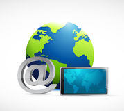 Globe at symbol and tablet. illustration Royalty Free Stock Photography