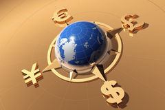 Money concept. Globe with symbols of Dollar, Euro, Pound, and Yen Stock Photo