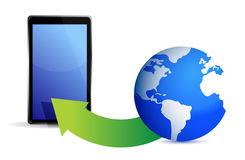 Globe and tablet Royalty Free Stock Photos