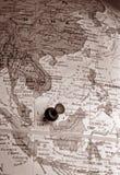 Globe with tack (Asia Region) stock image