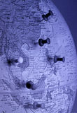 Globe with tack (Asia Region) stock photography
