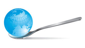 Globe in a tea spoon Royalty Free Stock Images