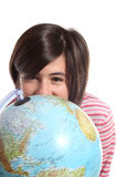 Globe and teenager on white Royalty Free Stock Image